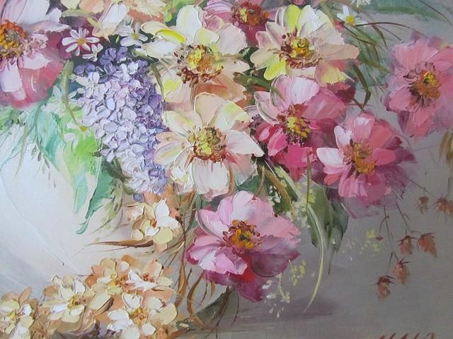 Картина маслом цветы нежный букет
